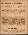 1940 Play Ball #92  John Whitehead  Back Thumbnail