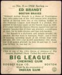 1934 Goudey #5  Ed Brandt  Back Thumbnail