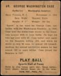 1941 Play Ball #69  George Case  Back Thumbnail