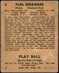 1941 Play Ball #4  Paul Derringer  Back Thumbnail