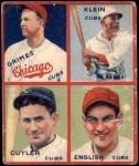 1935 Goudey 4-in-1  Kiki Cuyler / Chuck Klein / Woody English / Burleigh Grimes  Front Thumbnail