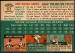 1954 Topps #51  Johnny Lindell  Back Thumbnail