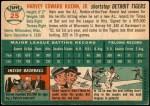 1954 Topps #25 WHT Harvey Kuenn  Back Thumbnail