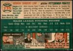 1954 Topps #235  Vern Law  Back Thumbnail