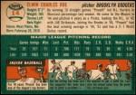 1954 Topps #14 WHT Preacher Roe  Back Thumbnail
