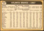 1968 Topps #221   Braves Team Back Thumbnail