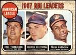 1968 Topps #4   -  Harmon Killebrew / Frank Robinson / Carl Yastrzemski AL RBI Leaders Front Thumbnail