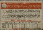 1952 Topps #242  Tom Poholsky  Back Thumbnail