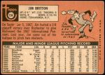 1969 Topps #154  Jim Britton  Back Thumbnail