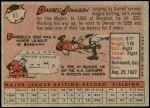 1958 Topps #61 YN Darrell Johnson  Back Thumbnail
