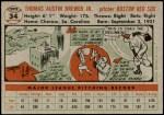1956 Topps #34  Tom Brewer  Back Thumbnail