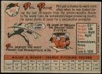 1958 Topps #442  Phil Paine  Back Thumbnail