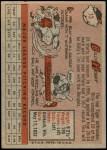1958 Topps #13 RED Billy Hoeft  Back Thumbnail