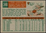 1959 Topps #348  Ted Lepcio  Back Thumbnail
