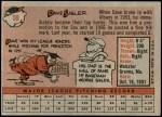 1958 Topps #59 BOX Dave Sisler  Back Thumbnail