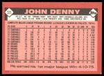 1986 Topps Traded #32 T John Denny  Back Thumbnail