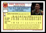 1992 Topps #17  Dee Brown  Back Thumbnail