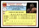 1992 Topps #172  Harvey Grant  Back Thumbnail