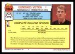 1992 Topps #304  Gundars Vetra  Back Thumbnail