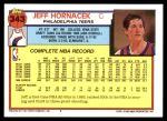 1992 Topps #343  Jeff Hornacek  Back Thumbnail