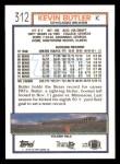 1992 Topps #312  Kevin Butler  Back Thumbnail