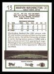 1992 Topps #13  Marvin Washington  Back Thumbnail
