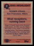 1991 Topps #2  Roger Craig  Back Thumbnail