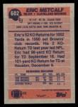 1991 Topps #602  Eric Metcalf  Back Thumbnail