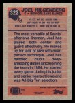 1991 Topps #322  Joel Hilgenberg  Back Thumbnail