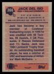 1991 Topps #366  Jack Del Rio  Back Thumbnail