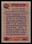 1991 Topps #472  Dennis Byrd  Back Thumbnail