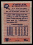 1991 Topps #554  John Elway  Back Thumbnail
