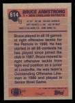 1991 Topps #614  Bruce Armstrong  Back Thumbnail
