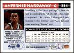 1993 Topps #334  Anfernee Hardaway  Back Thumbnail
