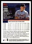 2000 Topps #117  Todd Jones  Back Thumbnail