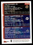 2000 Topps #445   -  Tim Raines Jr. / Gary Matthews Jr. / Garry Maddox Prospects Back Thumbnail