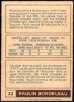 1977 O-Pee-Chee WHA #32  Paulin Bordeleau  Back Thumbnail