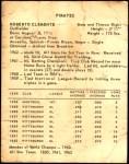 1963 Kahn's  Roberto Clemente  Back Thumbnail