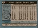 1980 Topps #100  Johnny Bench  Back Thumbnail