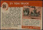 1954 Topps World on Wheels #55   2 1/2 Ton Truck Back Thumbnail