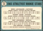 1965 Topps #526   -  Catfish Hunter / Blue Moon Odom / Skip Lockwood / Rene Lachemann Athletics Rookies Back Thumbnail