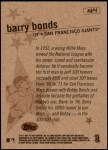 2001 Topps Heritage New Age Performers #4 NAP Barry Bonds  Back Thumbnail