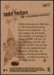 2001 Topps Heritage New Age Performers #13 NAP Todd Helton  Back Thumbnail