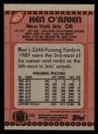 1990 Topps #453  Ken O'Brien  Back Thumbnail