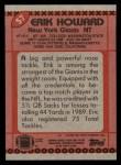 1990 Topps #57  Erik Howard  Back Thumbnail