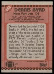 1990 Topps #458  Dennis Byrd  Back Thumbnail