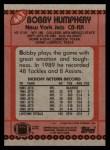 1990 Topps #461  Bobby Humphery  Back Thumbnail