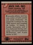 1990 Topps #488  Jack Del Rio  Back Thumbnail