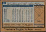 1978 Burger King #21  Reggie Jackson  Back Thumbnail