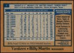 1978 Burger King #1  Billy Martin  Back Thumbnail